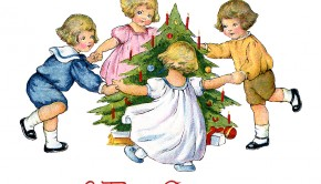 Children dancing around the Christmas tree - a 1918 vintage gree