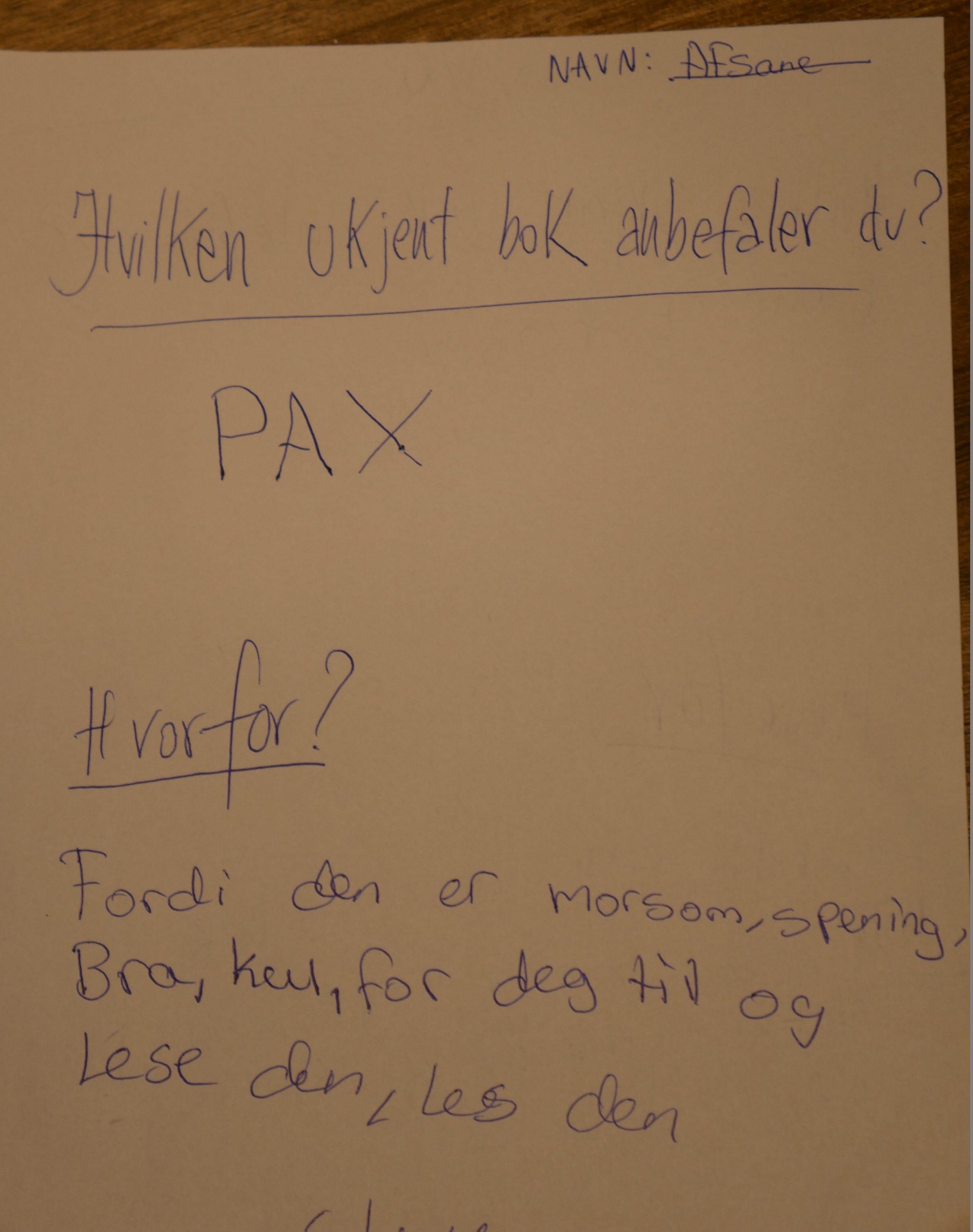 Afsane på Biblio, Tøyen filial anbefaler Pax