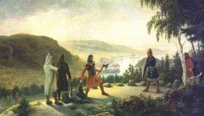 Egill Skallagrímsson og Berg-Önundr i en holmgang. Bildet er malt av Johannes Flintoe