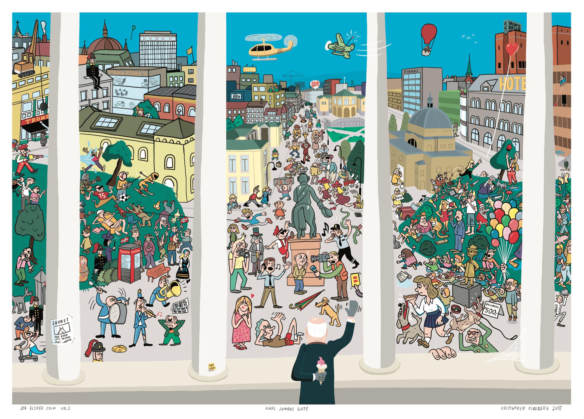 Detalj fra boka Jeg elsker Oslo, tegnet av Kristoffer Kjølberg.